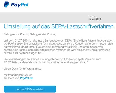 Phishing-Mails im Namen von Paypal im Umlauf