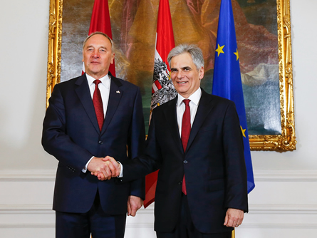 Bundeskanzler Faymann empfängt lettischen Staatspräsidenten Andris Berzins